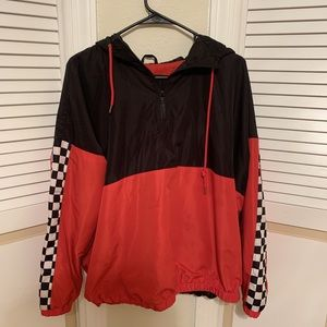 red & black pullover rain coat